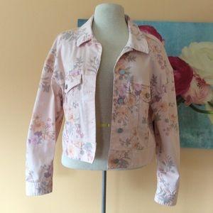 Sanctuary pink floral Jean jacket size extra large